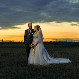 Krystal and Andy by Peter Hutchison - Wedding Bride & Groom ( clouds, strobist, sunset, bride and groom, country )