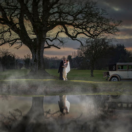 Bride & Groom by Adrian O'Neill - Wedding Bride & Groom ( car, water, love, sky, tree, grass, fog, wedding, bride, groom )