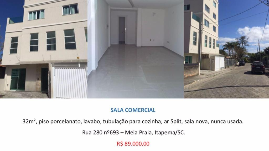SALA COMERCIAL/32m², piso porcelanato em Meia Praia-Itapema