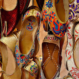 Embroidered Sandals by Prasanta Das - Artistic Objects Clothing & Accessories ( ladies, embroidered sandals, leather )