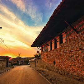 Sunset above Arbanasi by Ivan Ivanov - City,  Street & Park  Street Scenes ( clouds, arbanasi, sunset, street, bulgaria )