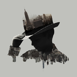 Creative Minds Never Sleep by Allie Cook - Illustration Buildings ( city scape, pimp, double exposure, silhouette, boy,  )