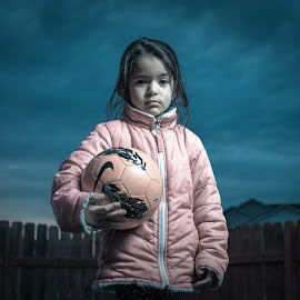 Dare to play by Pankaj Negi - Babies & Children Child Portraits ( fence, girl, football, cloud, soccer )