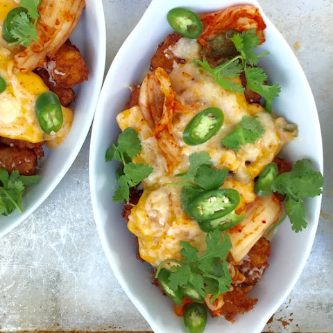Tater Tot Nachos (Totchos) with Kimchi Cheese Sauce