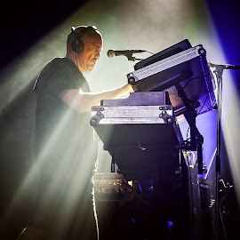 keyboarder, SKA-P by Paweł Mielko - People Musicians & Entertainers ( nikon, keyboard, concerts, music, stage, ska music, light, ska, on stage, concert, keyboarder, headphone )