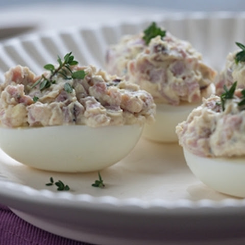 Double-Stuffed Deviled Eggs with Ham