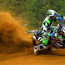 Dust Cloud by Marco Bertamé - Sports & Fitness Motorsports ( red, bike, motocross, green, dust, motorcyble, cloud, clumps, race, competition )