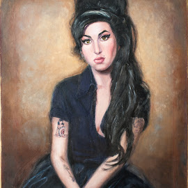 Amy in black by Jocelyne Maucotel - Painting All Painting ( woman, amy winehouse, black dress, painting, portrait, oil )