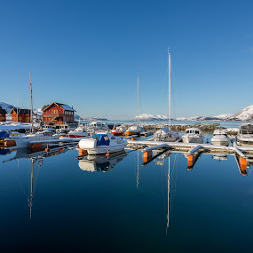 Boat harbour by Benny Høynes - Transportation Boats ( canon, calm, sky, winter, calmness, sunny, harbour, boats, bluesky, norway )