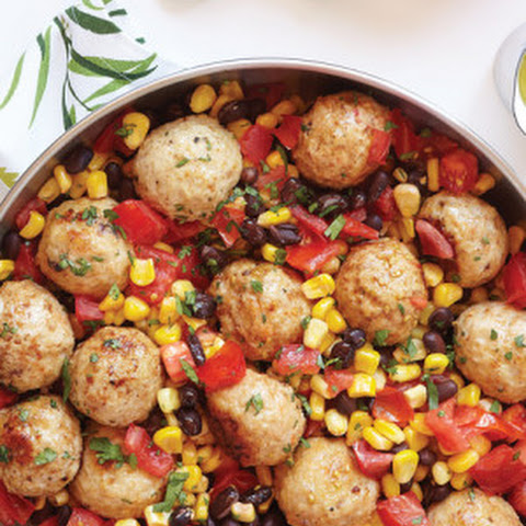Southwest Meatballs with Warm Corn Black Bean Salsa