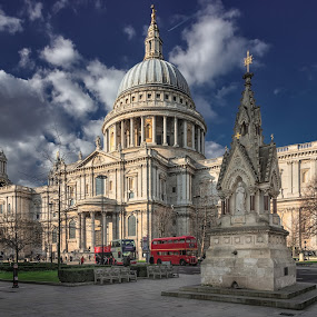 The old fountain and St. Paul Cathedral by Krasimir Lazarov - Buildings & Architecture Places of Worship ( city scape, city scene, london, fountain, tourism, cathedral, architecture, city street, united kingdom, travel locations, city )