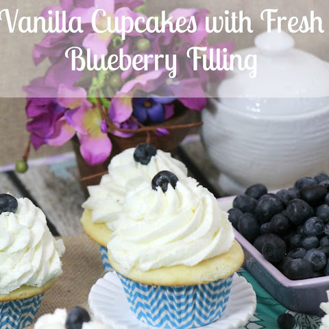 Vanilla Cupcakes with Fresh Blueberry Filling