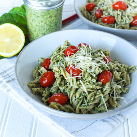 Pasta with Swiss Chard Walnut Pesto and Roasted Tomatoes
