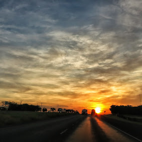 Drive Time Sunrise by Roger Armstrong - Landscapes Sunsets & Sunrises ( clouds, travel, sunrise, morning, sun )