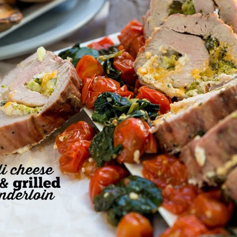Broccoli Cheese Stuffed Grilled Pork Tenderloin