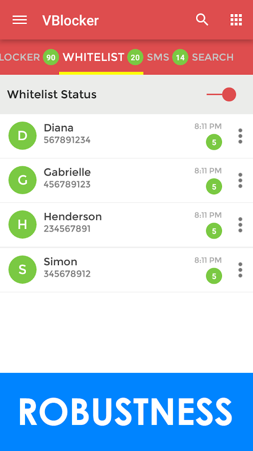 VBlocker: Call and SMS Blocker Screenshot 1