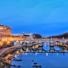 Rome by Matthew Meuskens - Buildings & Architecture Public & Historical ( canon, rome, blue hour, travel, bridges, travel photography, photography, slow shutter )