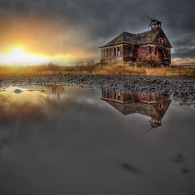 Burst of Sunlight by Eric Demattos - Buildings & Architecture Decaying & Abandoned ( school house, reflection, eric demattos, puddle, govan, abandoned,  )
