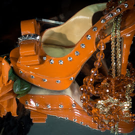 Orange Heels by Eva Ryan - Artistic Objects Clothing & Accessories ( orange, reflection, tabletop photography, shoe,  )