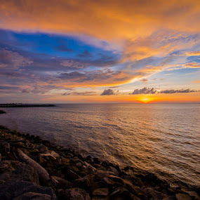 Under a Borneo Sky by Mahdi Hussainmiya - Landscapes Beaches ( cloud formations, waves, sunset, beach, golden hour )