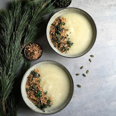 Cauliflower Celeriac Soup with Savory Granola & Crispy Kale (Vegan)