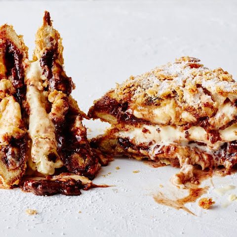 Deep-fried Nutella jaffle ice cream sandwich