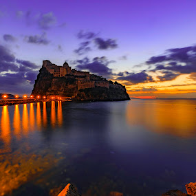 Just before dawn by Fabrizio Contadini - Landscapes Sunsets & Sunrises ( clouds, lights, water, sky, sea, castle, sunrise, landscapes, morning, italy )