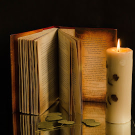Night Reading by Prasanta Das - Artistic Objects Still Life ( candle, reading, book )