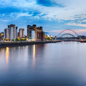 Deep Blue Quayside Sunset by Davey T - Buildings & Architecture Public & Historical ( tyne, river tyne, quayside, tyneside, gateshead, newcastle )