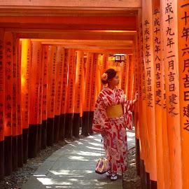 Ten Thousand Torii Gates by Tina Lim - People Portraits of Women ( kimono, fushimi inari, orange, japan, woman, kyoto, torii gate )