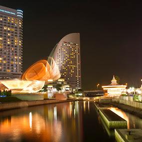 Minato mirai,Yokohama by Ketut Pujantara - Landscapes Travel ( water kanransha ferris wheels clock neon light )