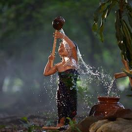 Morning Bathing by M Reza Saptodi - Babies & Children Children Candids