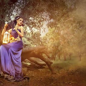 by Ai Khouw - Digital Art People ( fashion, model, girl, purple, dream, woman, beautiful, lamp, model modelling, cloud, glow, light )