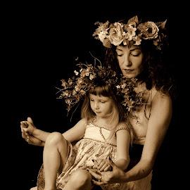 Motherhood tale by Max Tikhomirov - Babies & Children Child Portraits ( studio, child, monochrome, girl, female, flowers, motherhood, barefoot,  )