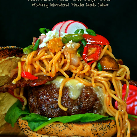 "Asian Fusion ""World Peace Burger Bowls"" Featuring International Yakisoba Noodle Salad"