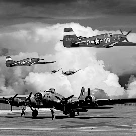 WWII ARMY AIR FORCE DEFENDING FREEDOM by Gerry Slabaugh - Transportation Airplanes ( b17, fighter planes, p51 mustangs, wwii, bombers )