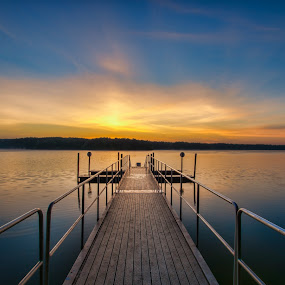 Sunrise on the Dock by Brian Young - Landscapes Sunsets & Sunrises ( calm, water, sky, lake, sunrise, landscape, morning, sun, dock, river )