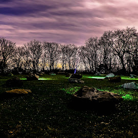 Mountain Lights by Anthony Mara - Abstract Light Painting ( clouds, lights, boulders, sky, light painting, grass, dark, trees, forest, night, rocks,  )