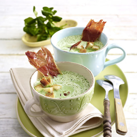 Watercress Soup with Croutons and Prosciutto Chips