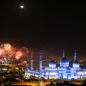 Abu Dhabi New Year 2016 by Erika Fisher - City,  Street & Park  Night ( fairmont abu dhabi, sheikh zayed grand mosque, night photography, new year, mosque, fireworks, abu dhabi, cityscape )
