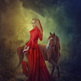 A girl with horse by Armed Armedia - Digital Art People ( digital art, dramatic, dark, cloudy, imagination )