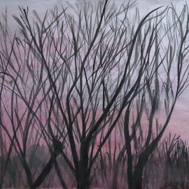 Sunset by Alexander Jackson - Painting All Painting ( watercolor, silhouette, sunset, trees, pink, painting, black )