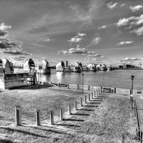 Thames Barrier Mono by Rob Colclough - Buildings & Architecture Other Exteriors