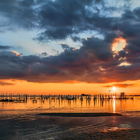 Fall Beach Sunset by Shutter Bay Photography - Landscapes Sunsets & Sunrises ( clouds, waterscape, colors, sunsets, waterscapes )