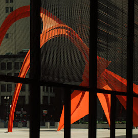 by Jon Kinney - Buildings & Architecture Statues & Monuments ( red, flamingo, chicago )