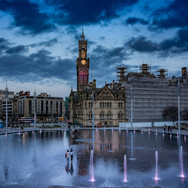 Walking On Water by Darrell Evans - City,  Street & Park  Street Scenes ( lights, water, building, bradford, town hall, fountain, d7100, centenary square, stone, town, nikon, city )