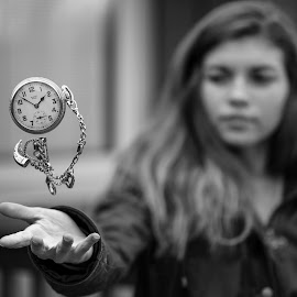 by Kyle Re - Artistic Objects Other Objects ( pocketwatch, highspeed, black and white, watch, hover, object, people, suspended, macro, pocket watch, time, girl, chain, outdoors, levitate, telekinesis )