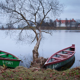 boats rest by Eugenijus Rauduve - Transportation Boats ( tree, autumn, boats, castle, lake )