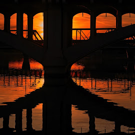 Sunset reflection by David Bair - Buildings & Architecture Bridges & Suspended Structures ( colorful, sunsets, arizona, reflections, bridges, salt river )