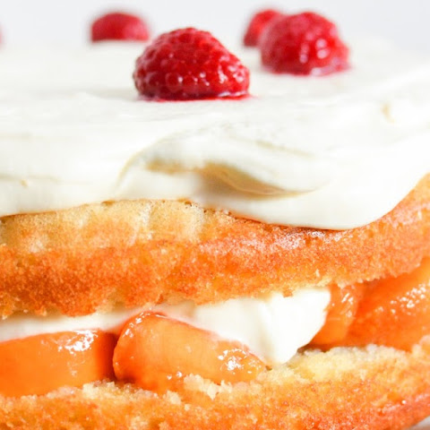 Peach Melba Whipped Cream Cake